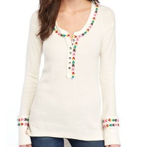 Free people rainbow thermal top in Ivory
